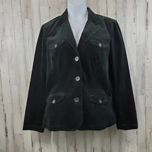 Eddie Bauer Womens Jacket L Black Button Up